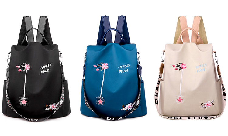 HUYANNABAO Handmade Embroidery Women Backpack for Teenage Girls Designer Oxford Black Elegant Female Backpacks