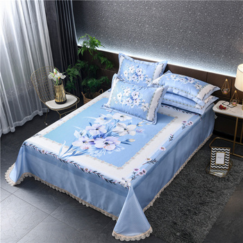 Flower Bed Sheets Style Ice Silk Mat Set Non-slip Foldable Washable Cool Mat Pillowcase 3pcs Stylish Simple Summer bedspread