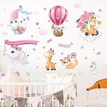 Autocollants muraux d'animaux doux de dessin animé, étiquette de fond de chambre à coucher pour bébé, décor de maison, Stickers de décoration d'animaux mignons pour pépinière