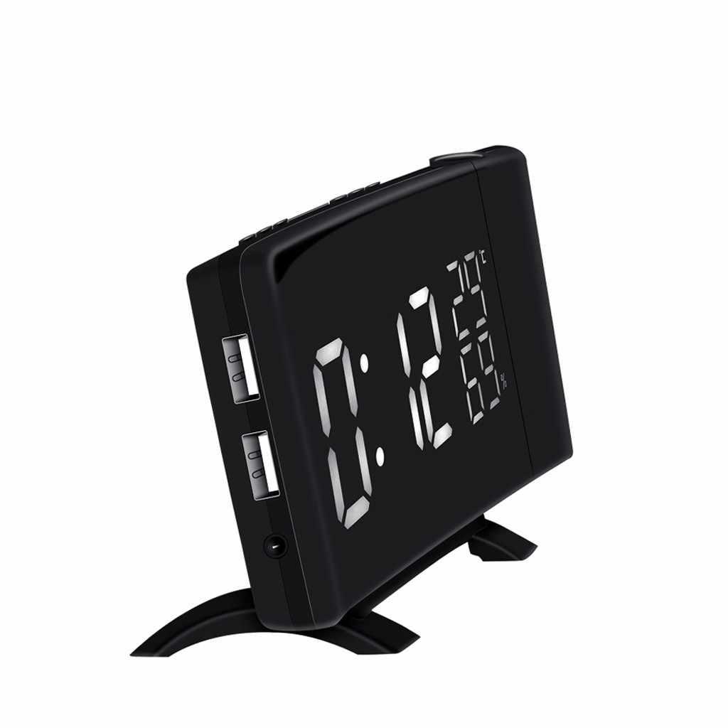 นาฬิกาปลุกดิจิตอลนาฬิกา FM USB Dual สัญญาณเตือนภัยสลับ 3 สี LED Mirror นาฬิกาปลุกดิจิตอล Snooze ตารางนาฬิกา