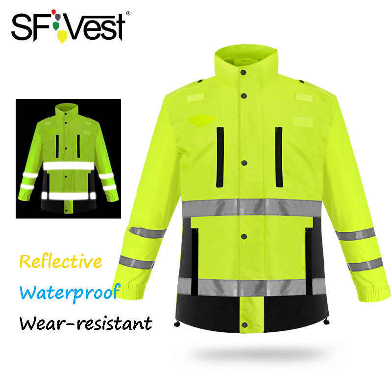 男性のジャケットレインコート蛍光黄色と黒厚い防水 3 メートル反射で 300 メートル