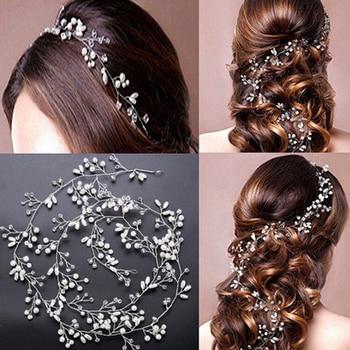 Golo Silver Color Pearl Crystal Headband Bridal Hair Vine Tiara Headpiece Diamante Hair Jewelry Wedding Hair Accessories недорого