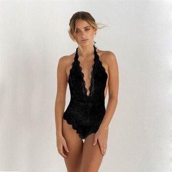 2019 V-Neck Womens Lace Sexy Backless Lingerie G-string One-Piece Swimsuit Swimwear Bodysuit Bathing Beachwear Underwear