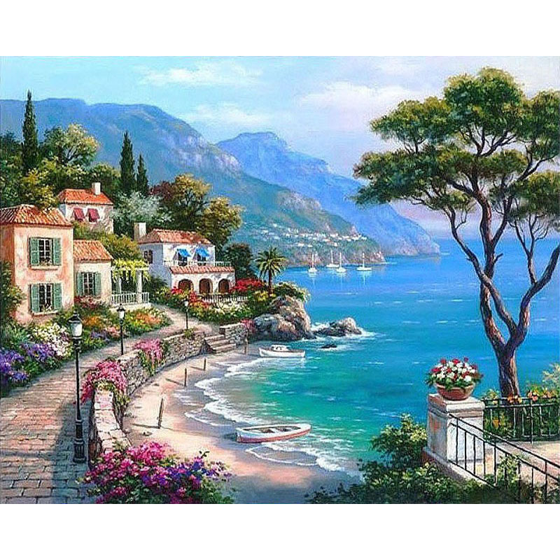 GATYZTORY Paint By Numbers For Adults Children Harbor Landscape Oil Painting HandPainted Drawing On Canvas Home Decor Gift