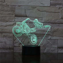 3D Lamp Motorcyclist Motorcycle Show Battery Powered for Christmas Present for Children Atmosphere Led Night Light Lamp Hologram(China)