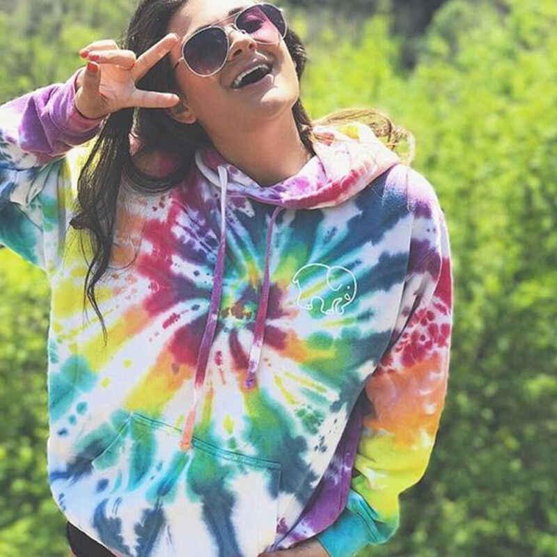 플러스 사이즈 여성 넥타이 염색 후드 티셔츠 숙녀 바지 풀오버 탑스 가을 긴 소매 느슨한 Drawstring 점퍼 캐주얼 후드