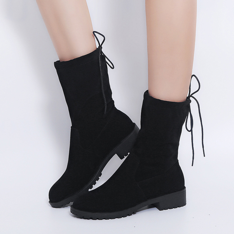 Women Flock Autumn Boots Flat Mid Calf Slip On Shoes For Women Boots Plus Size 43 Botas Mujer Black Lace Up Casual Platform Shoe in Mid Calf Boots from Shoes
