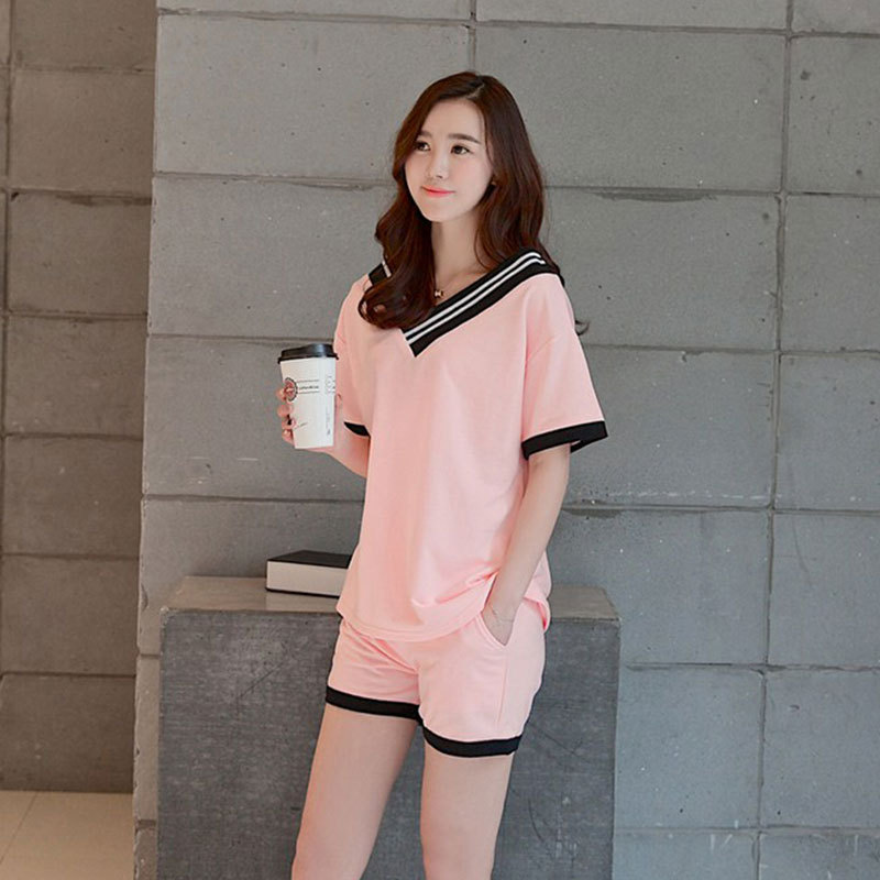 Summer Short-sleeved WOMEN'S Pajamas Korean-style Girl'S Qmilch Casual Loose-Fit Sports Cute Homewear Set