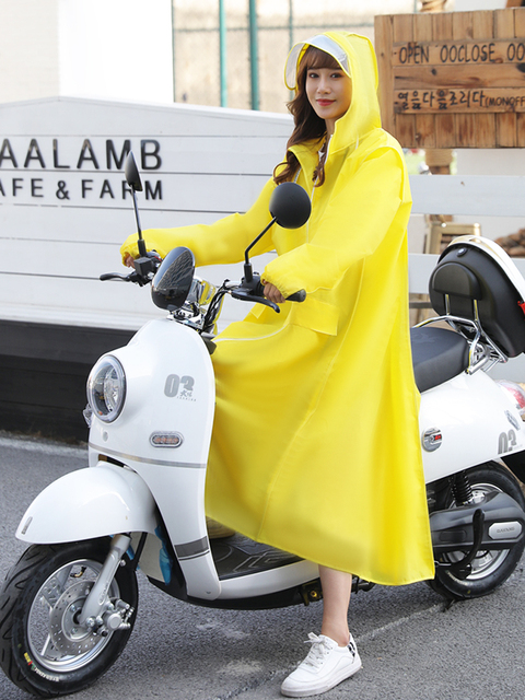 EVA Clear Raincoat Women Long Yellow Transparent Rain Coat Riding Electric Bicycle Adult Rain Poncho Plastic Coat Rainwear Gift 4