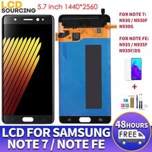 Pantalla LCD AMOLED de 5,7 pulgadas para móvil, montaje de digitalizador con pantalla táctil N935F, N935F/DS, para Samsung Note 7, N930F