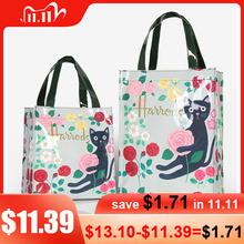 London Style PVC Reusable Shopping Bag Womens Bag Eco Friendly Flower Shopper Bag Waterproof Handbag Lunch Tote Shoulder Bag
