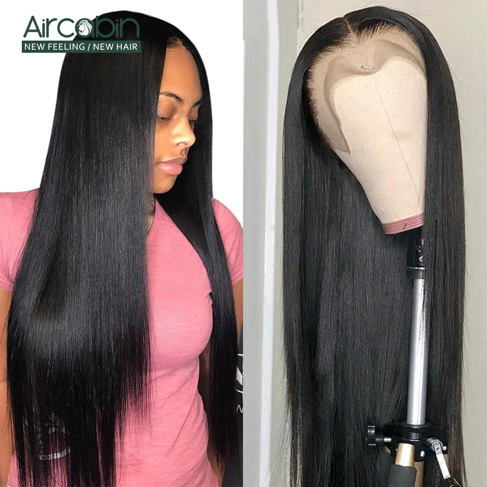 Aircabin 13x4 Lace Front Wigs Brazilian Straight Human Hair Wigs Glueless 130% Density Pre Plucked Swiss Lace Remy Hair Wig