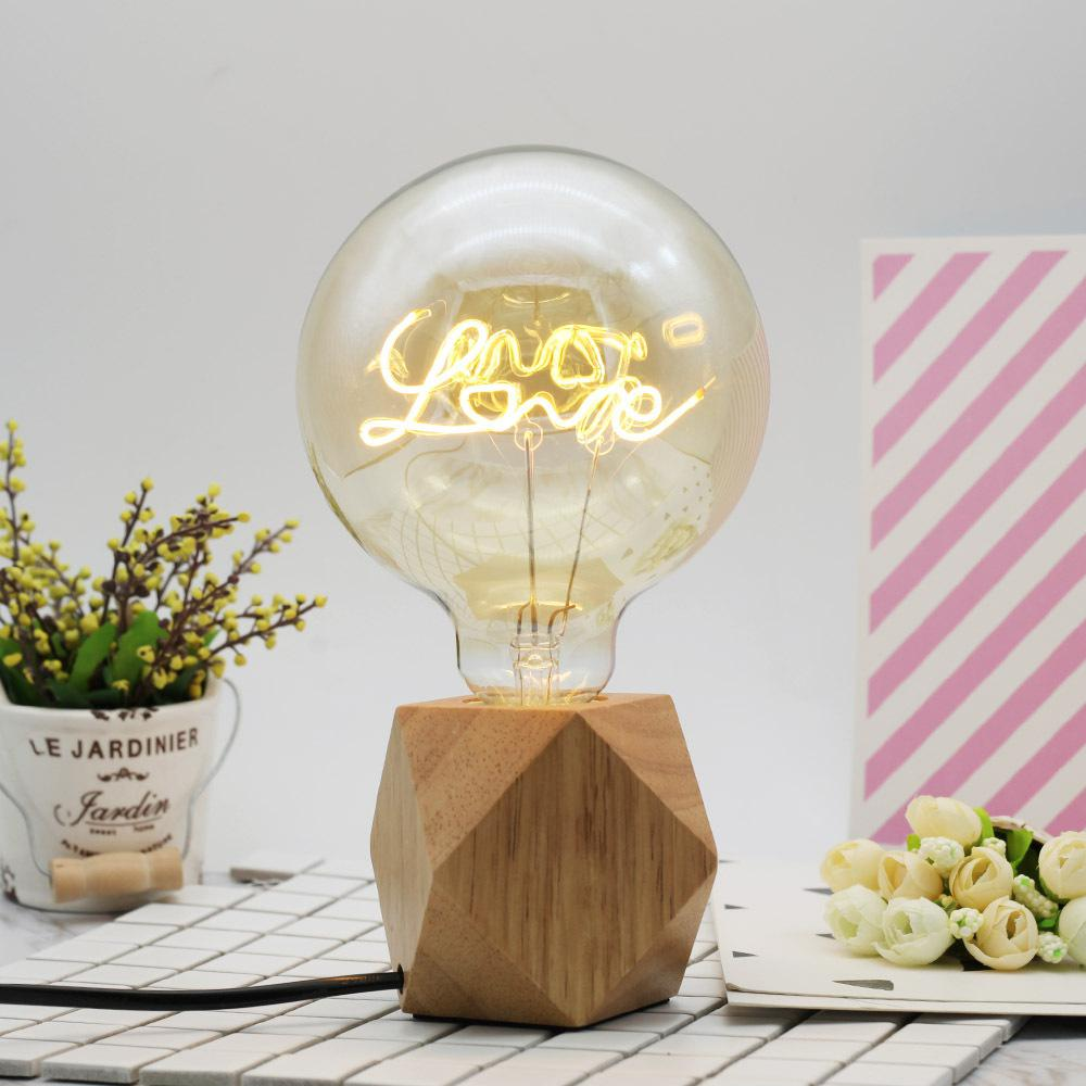 MeterMall Retro LED Love Letter Lamp G125 Edison Bulb With Yellow Galss Shell For Home Decoration