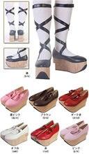 Sandales à plateforme pour femmes, escarpins à talons hauts, sabots en bois, sangles croisées, Lolita Cosplay Creepers, chaussures japonaises Harajuku sur mesure