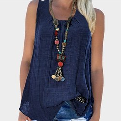 Nice 7 Colors 5Xl Casual Women Summer Plus Size Camis Solid Sleeveless Cotton Linen Tank Top O-Neck Pleated Loose Tops