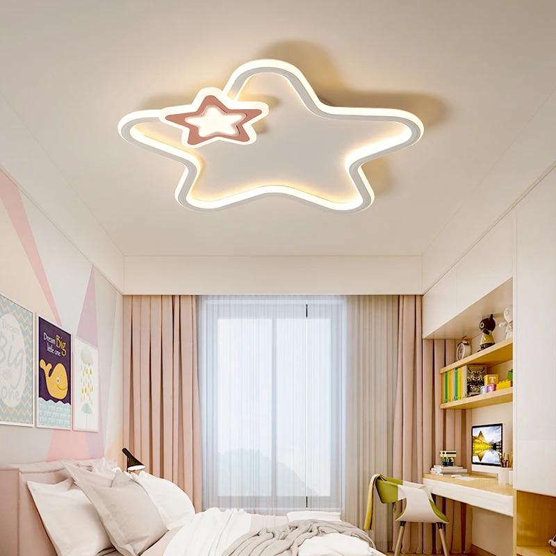 children s room ceiling light girl led pink star roof lights boy bedroom lamp nordic girl girl color star home lamp