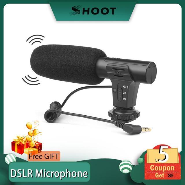 ยิงสเตอริโอกล้องวิดีโอไมโครโฟนสำหรับกล้อง Nikon Canon DSLR คอมพิวเตอร์โทรศัพท์มือถือพร้อมไมโครโฟนสำหรับ PC สำหรับ Xiaomi 8 iPhone X Samsung