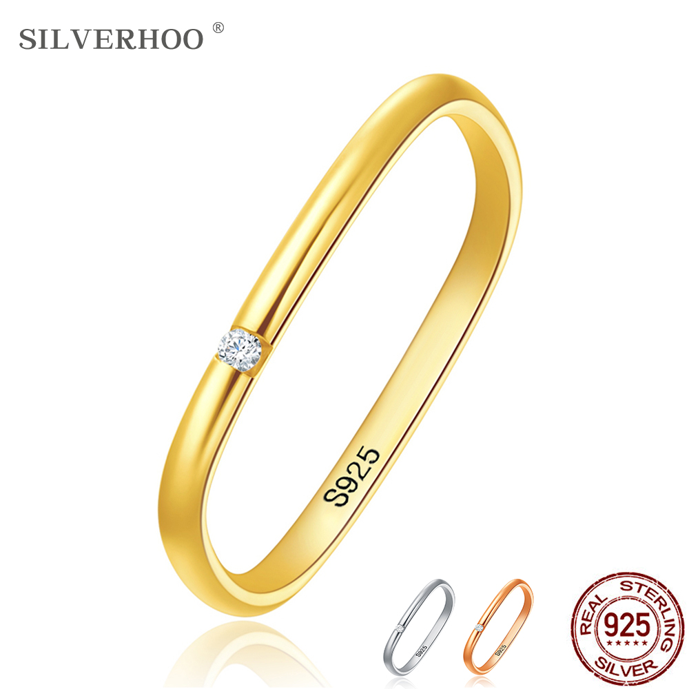 SILVERHOO Real 925 Sterling Silver Rings For Women Cute Zircon Geometric Square Wedding Engagement Ring Silver 925 Jewelry Gift