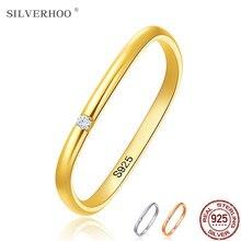 Silverhoo real 925 anéis de prata esterlina para as mulheres bonito zircão geométrico quadrado casamento anel de noivado prata 925 jóias presente