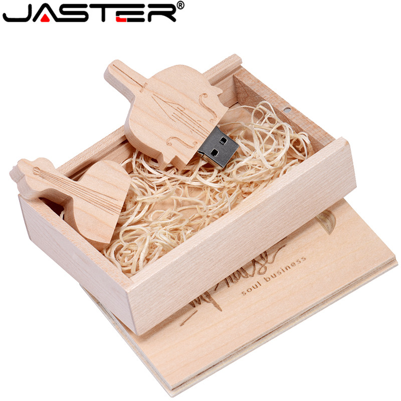 ASTER   Maple Cello USB 2.0 + Box Usb Flash Drive U Disk Pen Drive 4GB 32GB 64GB Free LOGO For Photography Wedding Gift