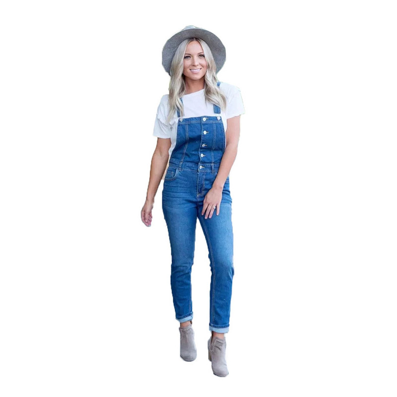 Casual Bodycon Long Jeans Jumpsuit verano mujeres vaquero Denim Romper mujeres overol para mujeres Pantalones 2019