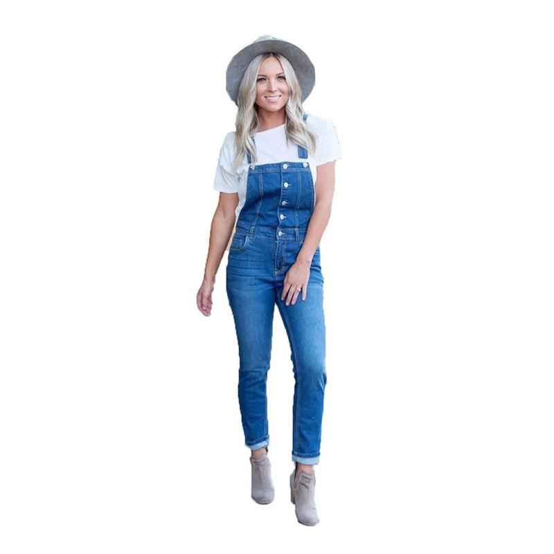 Casual Button Bodycon Long Jeans Jumpsuit Summer Women Cowboy Denim Romper Women Overalls For Women Pants Trousers 2019