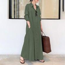 Bolso longo manga longa vestido longo manga longa mulher algodão e linho cor sólida lapela vestido de manga comprida temperamento vestido