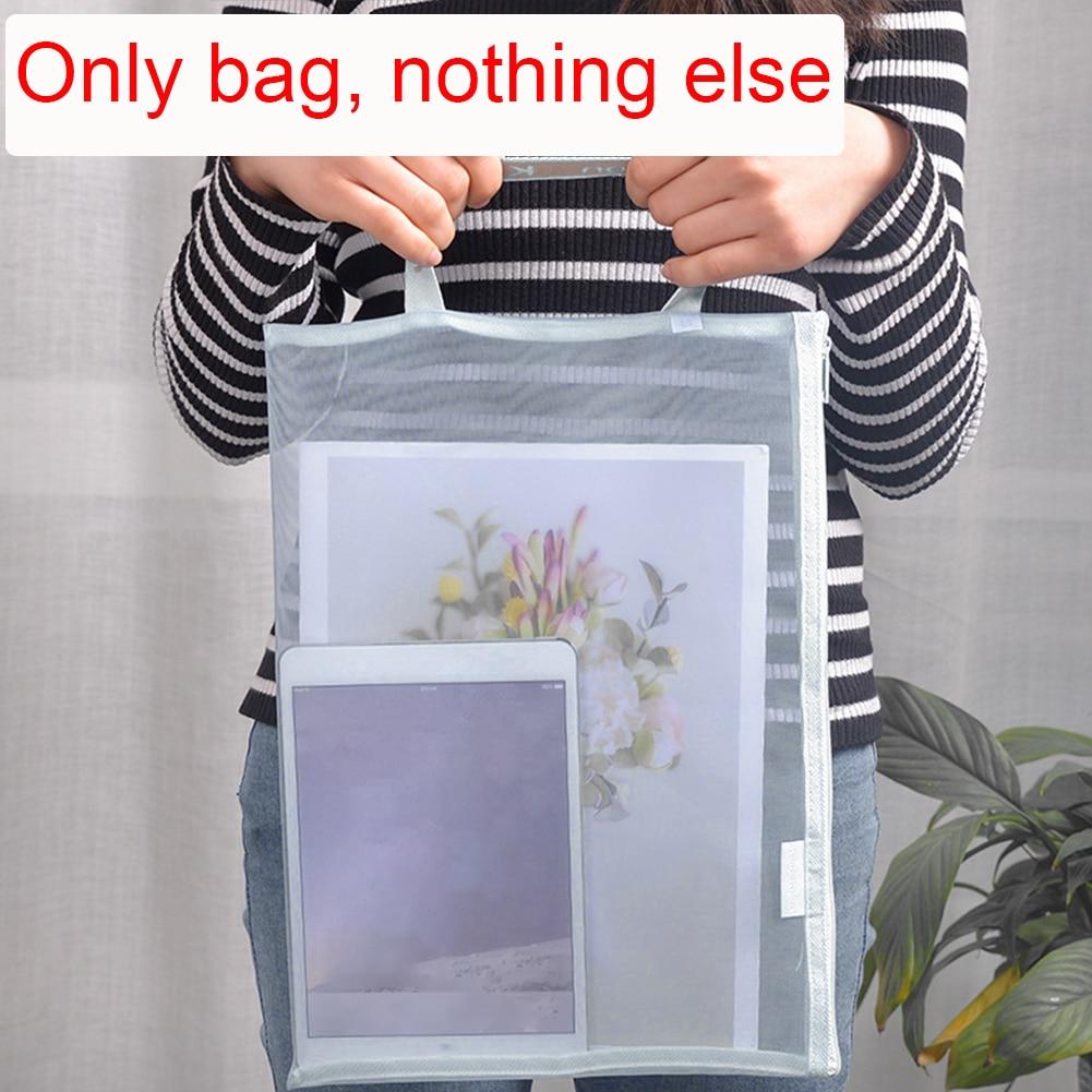Nylon Office School Portable For Students Zipper Closure Storage Holder Transparent Gridding Document Bag Paper Folder A4 A5