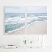 Quadro de praia com pintura para parede, arte nórdica para sala de estar na parede