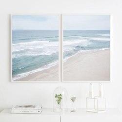 Пляжный постер пейзаж, Картина на холсте, скандинавский настенный художественный принт, Скандинавский современный Рисунок для гостиной на ...