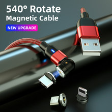 540° Rotate Magnetic USB Cable Fast Charging Type C Mobile Phone Cord Magnet Charger Data Charge IOS Lightning Cable Cables 2M