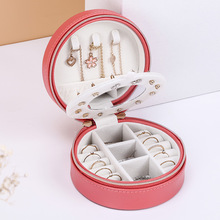 High Grade Round Portable Jewelry Box  Soft PU Leather Sweet Small Fresh Holder box
