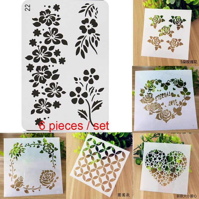 6pc Stencil Bullet Journal Rose Painting Template Plastic Stencil For Scrapbooking Stamp Embossing Cards Drawing Templates Decor