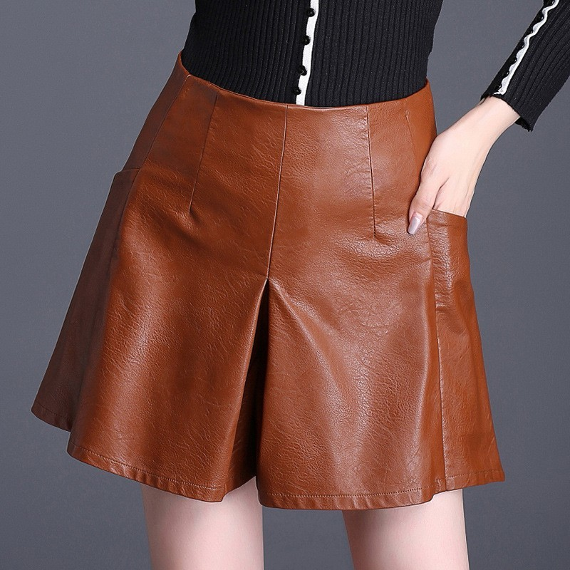 2020 Autumn Harajuku PU Faux Leather Skirt Shorts Women Brown Plus Size 4XL High Waist Office Lady A-Line Wide Leg Skirt Shorts