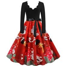 Модное рождественское женское платье с длинным рукавом, Рождественский принт музыкальных нот, винтажное расклешенное платье, женское платье, hiver# guahao