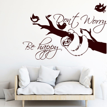 Sloth Inspirational Quote Tree Wall Sticker Cute Animal Home Decor Do not Worry Be Happy Room Decoration Poster W770