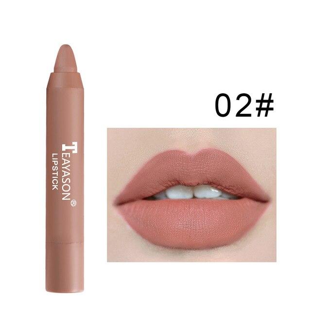 12 cores de veludo fosco batons lápis à prova dwaterproof água longa duração sexy vermelho lábio vara on-vara copo maquiagem lábio matiz caneta cosméticos 5