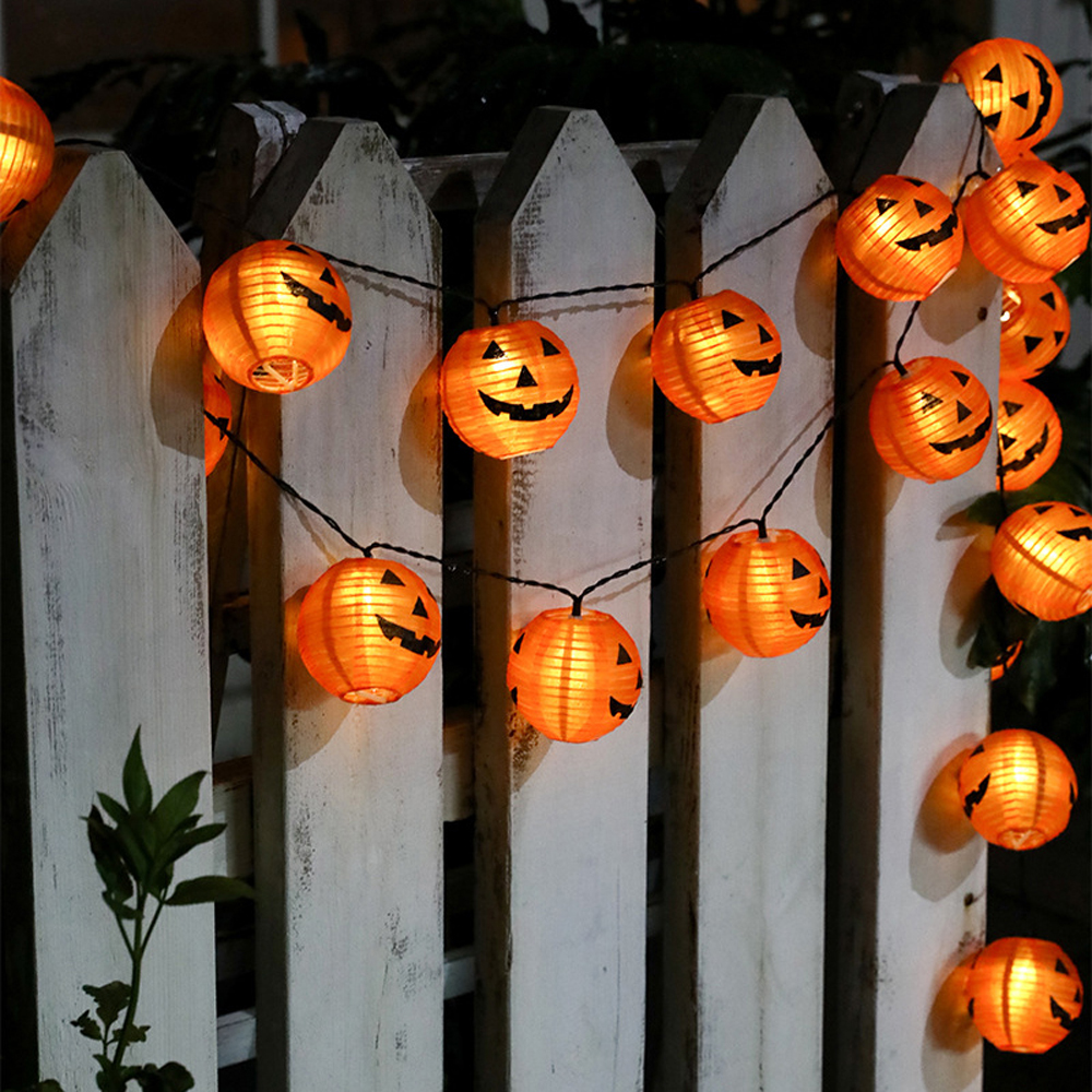 Solar Powered 10/20 LED Pumpkin String Lights Detachable Polyester Halloween Pumpkin Lanterns For Halloween Christmas Decoration