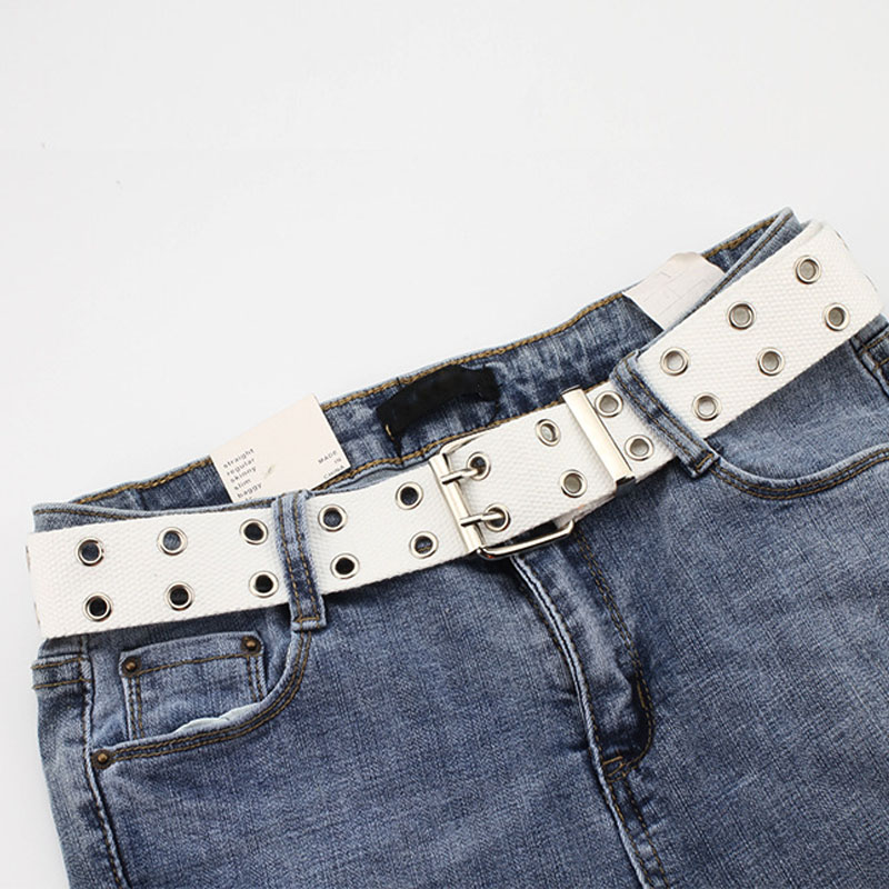 Дизайнер Харадзюку широкий тканевый ремень с двумя отверстиями и пряжкой Женский Мужской поясной ремень ремни для женщин мужские джинсы