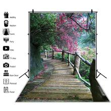 Laeacco Spring Landscape Photophone Forest Blooming Trees Wood Pathway Baby Portrait Photography Backdrops Photo Backgrounds