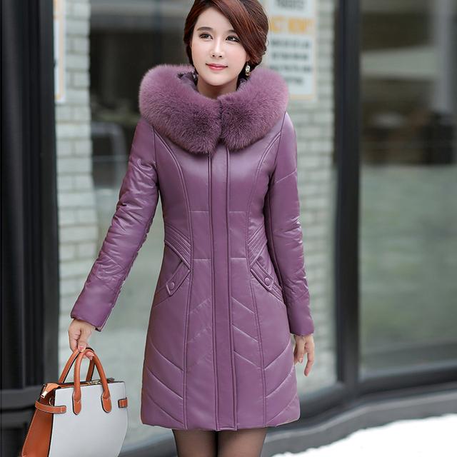 Plus Size L-8XL Women Leather Coat Winter 2019 New Mother's Jacket Thicken Warm Fur Collar Hooded Sheepskin Overcoat Female