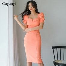 Plain office lady vestido 2021 verão cintura alta vestido apertado moda gola quadrada puff manga simples festa elegante vestido feminino