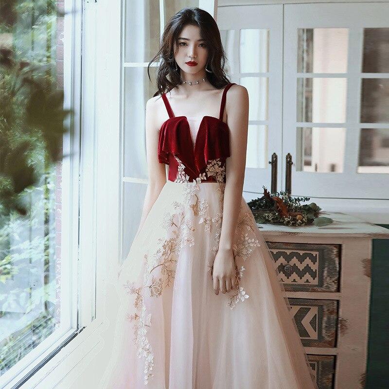 Vestido de Noite Vestidos de Noite Nova Mulher Formal Noiva Festa Longo Sexy Sling Hems Bordado Apliques Vestido 2019
