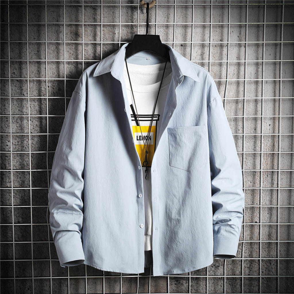 Men Clothes 2020 Fashion Spring Summer Casual Slim Printed Long Sleeve Shirts Top Beach Blouse Male camisa masculina blusa