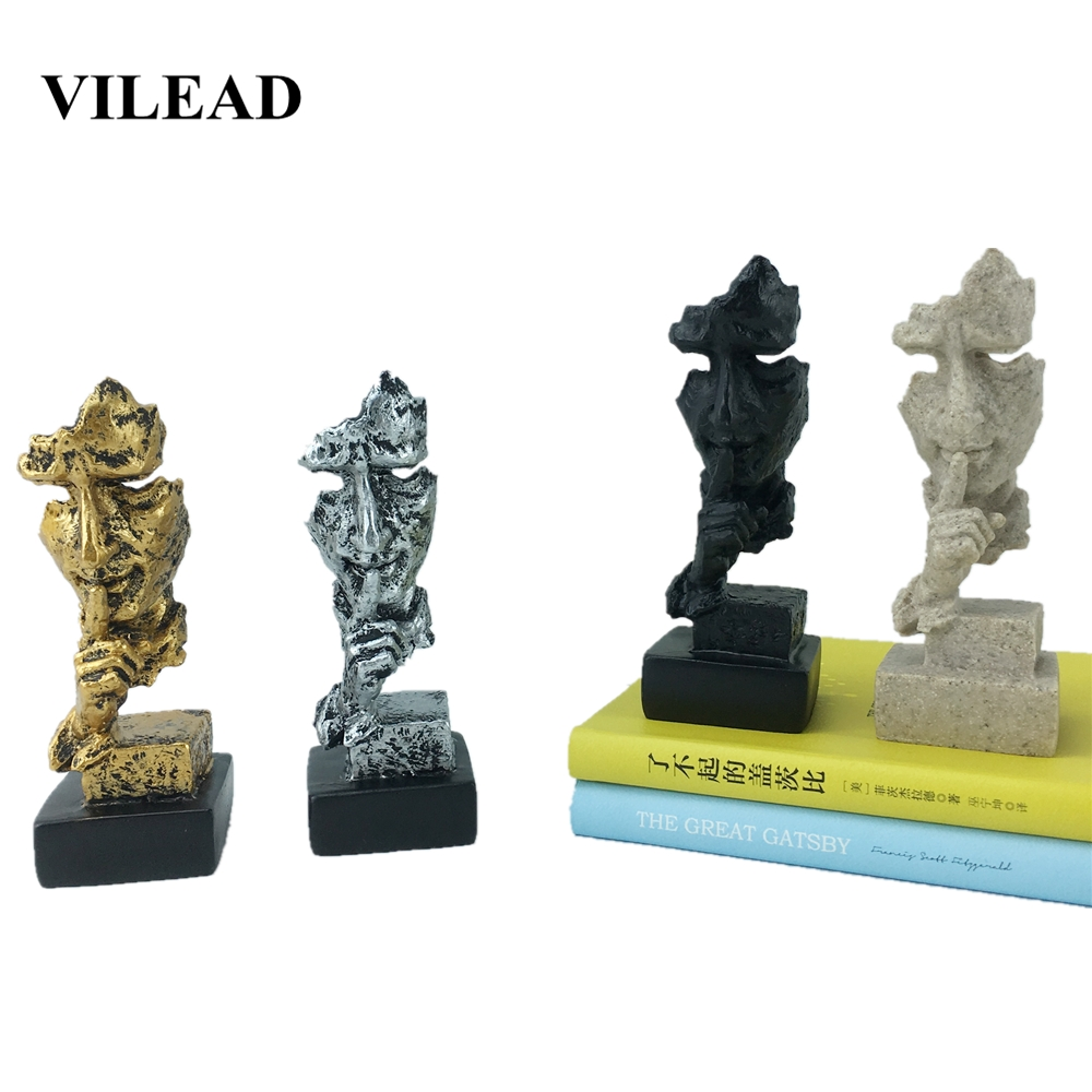 VILEAD 13.5cm Resin Abstract Art Face Statuettes Silence Is Gold Face Mask Statue Creative Character Home Decoration Accessories