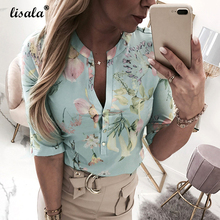 купить LISALA Women Shirts floral Printed Blouse Half Sleeve V-Neck Mandarin Collar Blouses Ladies Plus Size Tops tunic 5XL дешево
