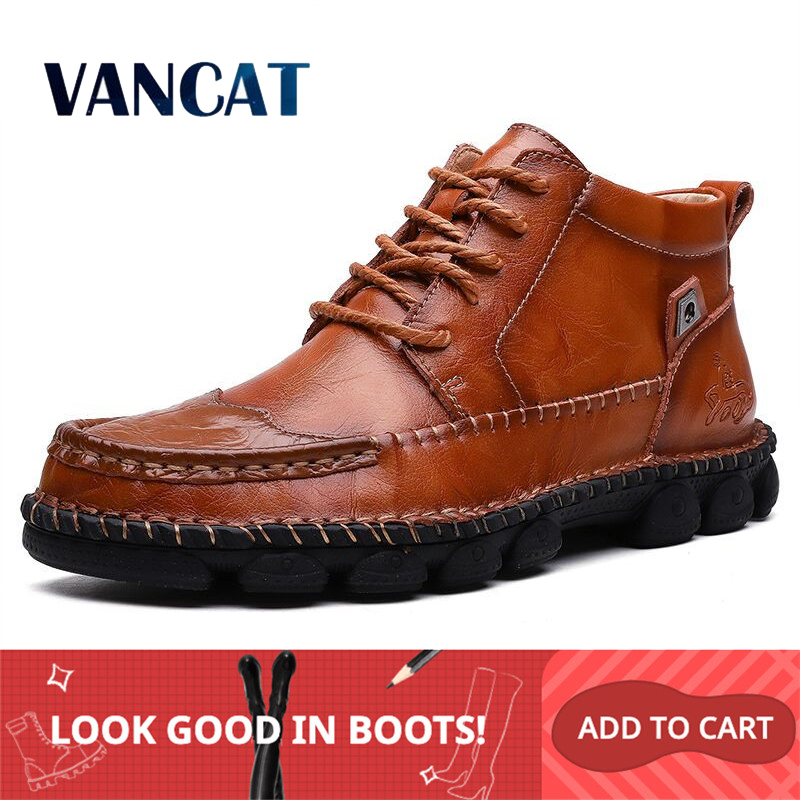 2019 New Autumn Winter Cow Split Leather Men Boots Comfortable Motorcycle Boots Men Footwear Rubber Ankle Boots Men's Shoes