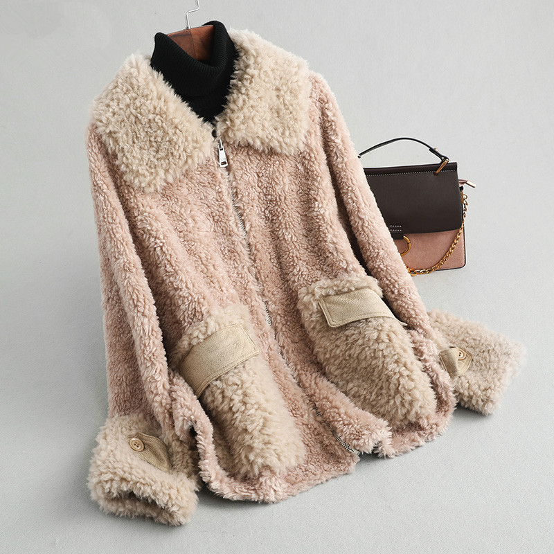 Sheep Real Shearling Fur Coat Female Jacket Winter Jacket Women 100% Wool Coats And Jackets Women Korean Outwear MY4096 S S