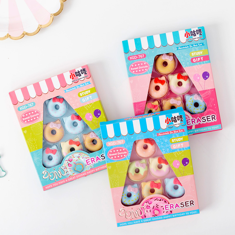 8 Set/lot  Creative Bowed Cat Doughnuts Box Packing Eraser / Rubber Eraser Suit / Student Eraser/toy Children Gift/stationery