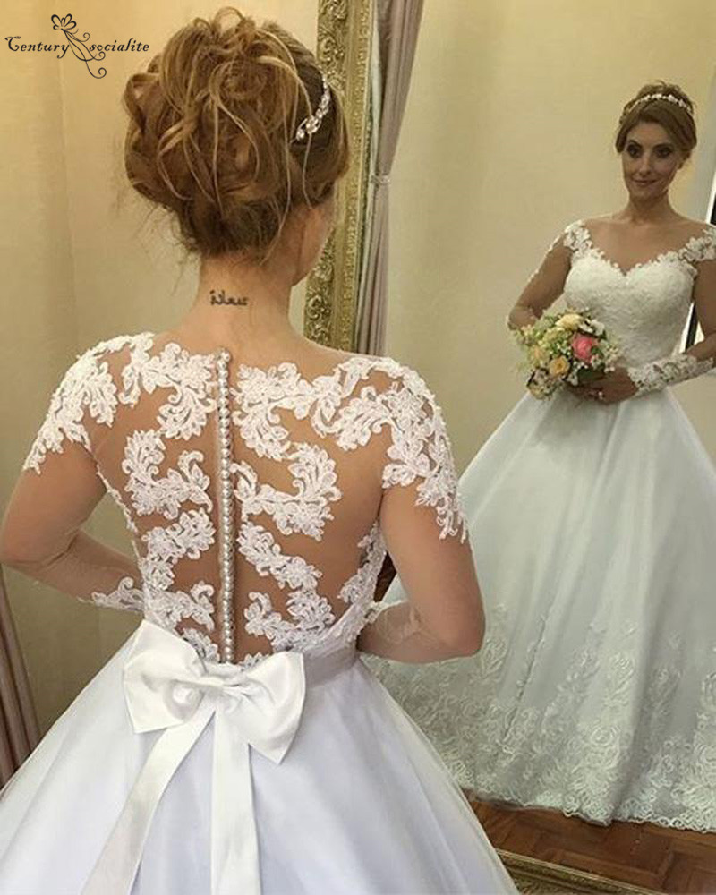 Vestido De Noiva Lace Wedding Dresses Long Sleeves Appliques Big Bow Sheer Back Sweep Train Vintage Bridal Gowns Plus Size 2020